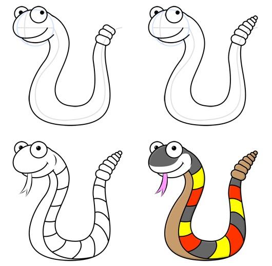 Рисуем змей поэтапно для детей